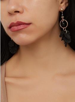 Metallic Petal Drop Earrings - 1190003208481