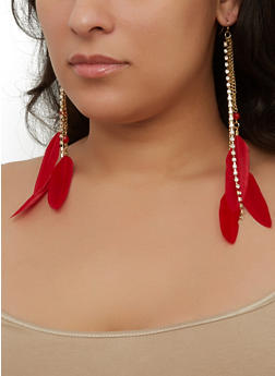 Feather Rhinestone Drop Earrings - 1190035155688