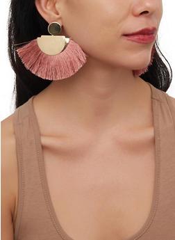 Metallic Fringe Fan Earrings - 1190071210112