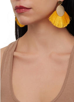 Metallic Circle Fringe Fan Earrings - 1190071210114