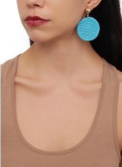 Straw Disc Earrings - 1190071210355