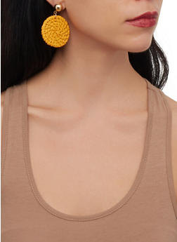 Straw Disc Earrings - 1190071210355