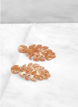 Marbled Resin Leaf Drop Earrings - 1190071212811