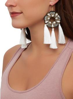 Beaded Flower Tassel Earrings - 1190071218112