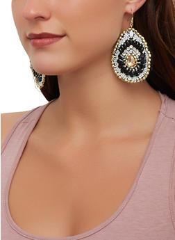 Multi Beaded Tear Drop Earrings - 1190071218116