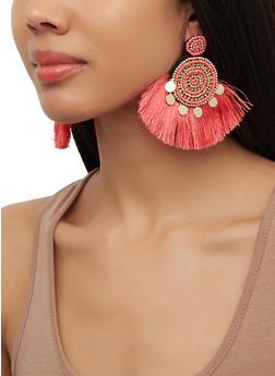 Circular Beaded Fringe Earrings - 1190071218117