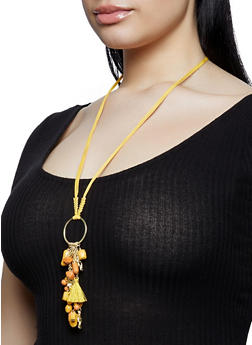 Long Beaded Charm Necklace - 1191018435588