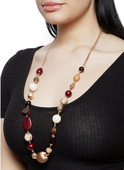 Long Beaded Necklace with Drop Earrings - 1191018438100