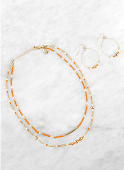 Beaded Layered Necklace and Drop Earrings - 1191035151538