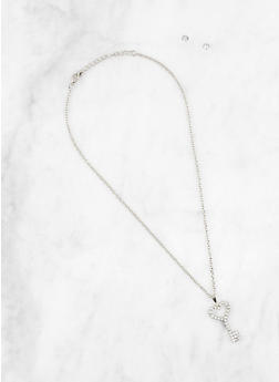 Rhinestone Key Charm Necklace with Stud Earrings - 1191063090300