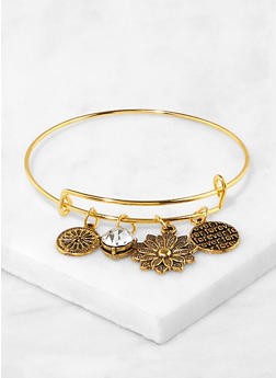 Expandable Wire Flower Charm Bangle - 1191063092220