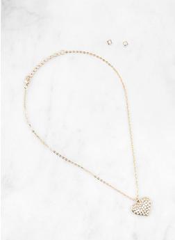Metallic Rhinestone Heart Charm Necklace and Stud Earrings - 1191063092466