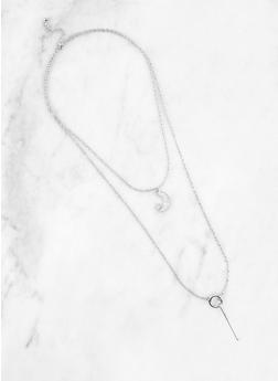 Rhinestone Moon Charm Necklace - 1191063093433