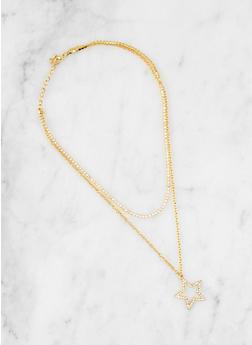 Rhinestone Star Charm Necklace - 1191063093443