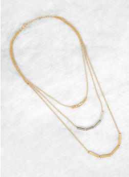 Layered Two Tone Necklace - 1191063099095