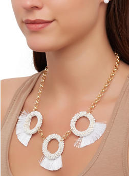 Beaded Tassel Necklace with Stud Earrings - 1191071210009