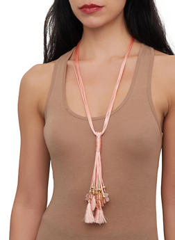 Beaded Tassel Rope Necklace with Drop Earrings - 1191071217627