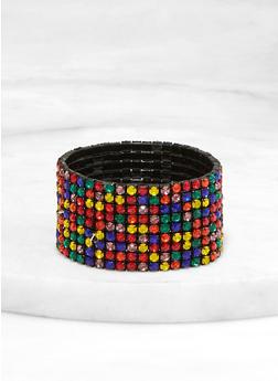 Multi Row Rhinestone Stretch Bracelet - 1193003201498