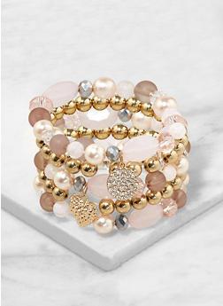 Set of Assorted Stretch Charm Bracelets - 1193035155028