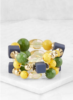 Large Beaded Stretch Bracelet Trio - 1193035155458
