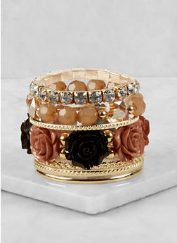 Metallic and Flower Stretch Bracelets - 1193035158554