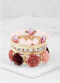 Metallic and Flower Stretch Bracelets - 1193035158554