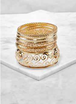 Plus Size Set of Metallic Bangles - 1193057692399