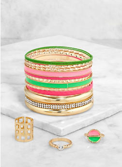 Neon and Metallic Bangles with Ring Trio - 1193057695304