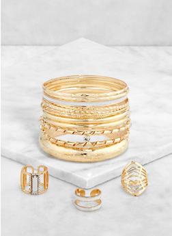 Metallic Bangles with Ring Trio - 1193057695318