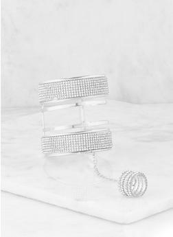 Rhinestone Cuff with Attached Ring - 1193062811470