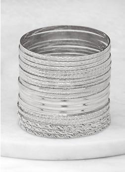 Plus Size Textured Metallic Bangles - 1193062814807