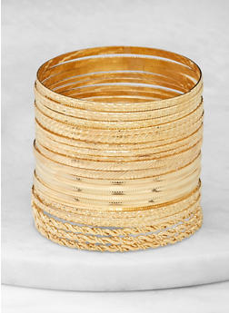 Plus Size Textured Metallic Bangles - 1193062814807