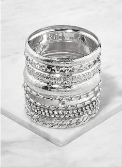 Set of Rhinestone and Textured Metallic Bangles - 1193062921087
