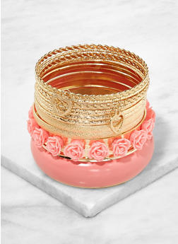 Set of Assorted Flower Metallic Bangles - 1193062921093