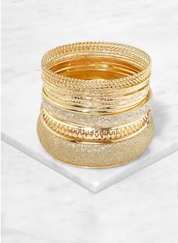 Plus Size Set of Glitter Metallic Bangles - 1193062921120