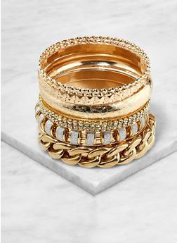 Plus Size Curb Chain Glitter Bangles - 1193062921311
