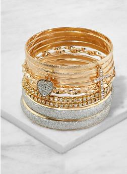 Set of Rhinestone Metallic Charm Bangles - 1193062922463
