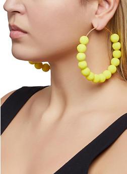 Velvet Beaded Hoop Earrings - 1193062922730