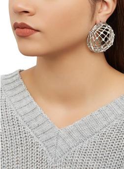 Rhinestone Dome Earrings - 1193062922995