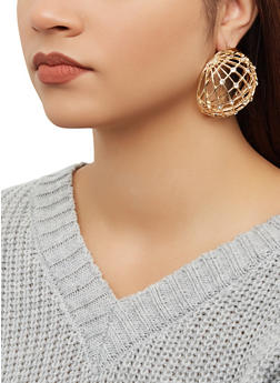 Rhinestone Dome Earrings - 1193062922995