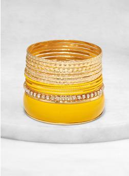 Plus Size Set of Textured Metallic and Rhinestone Bangles - 1193062924476