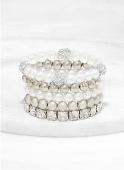 Faux Pearl and Rhinestone Stretch Bracelets - 1193062924752