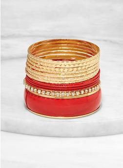 Set of Textured Metallic and Rhinestone Bangles - 1193062924761