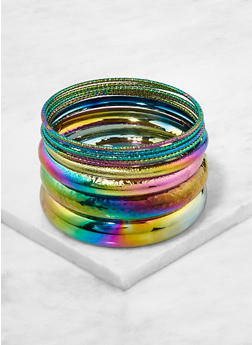Plus Size Oil Slick Bangles - 1193062925054
