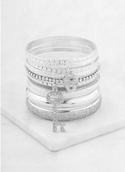 Assorted Metallic Glitter Bangles - 1193062927076