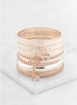 Assorted Metallic Glitter Bangles - 1193062927076