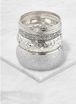 Set of Glitter Metallic Bangles - 1193062928293