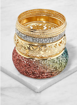 Set of Glitter Metallic Bangles - 1193062928293