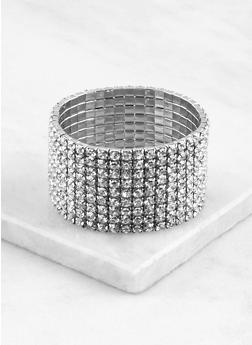 Rhinestone Stretch Cuff Bracelet - 1193071430330