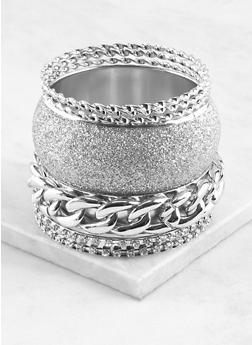 Plus Size Assorted Metallic Bangles Set - 1193071431230
